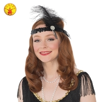 Jewel Sequin Flapper Gatsby Headband Black