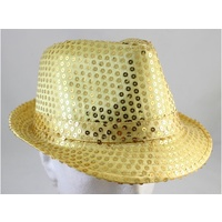 SEQUIN FEDORA HAT GOLD