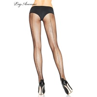Black Fishnet Pantyhose w' Seam Plus Size