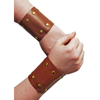 Roman Gladiator Leather Look Wristbands - 2 Pk