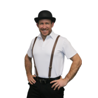 Leather Look Suspenders/Braces Brown