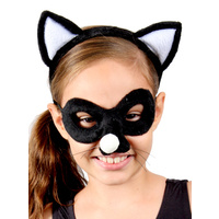 Animal Headband & Mask Set - Cat Blk/Wh