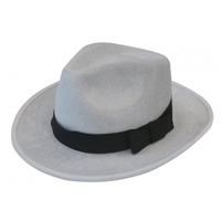 Deluxe Velour Gangster Hat White/Black