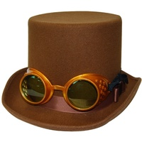 Steampunk Brown Top Hat with Gold Goggles