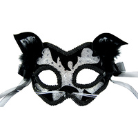 Cat Look Black & Silver Masquerade Mask