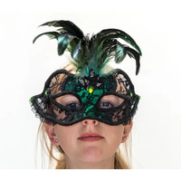 Exotic Black Green Lace & Reather Mask