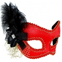 Red, Black & Gold Masquerade Mask Glasses Style w/Black Feather