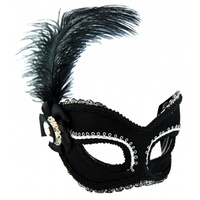 Black & Silver w/Feather Masquerade Mask Glasses Style