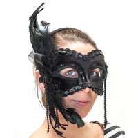 Luxurious Black Feather Deluxe Mask