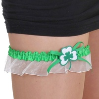 Leg Garter with white shamrock