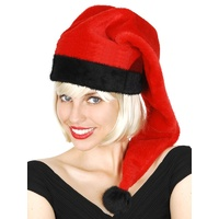 Santa Hat Long Plush Black & Red Party Pack (10)