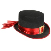 Top Hat Black Red Band & Gold Buckle