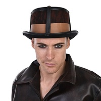 Leather Look Steampunk Top Hat Brown