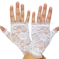 Short Fingerless Lace Gloves Party Accessory