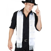 White Gangster Fringed Scarf