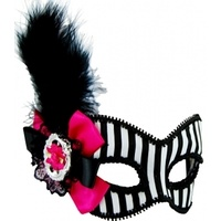 Carnival Black White & Pink Masquerade Mask Glasses Style