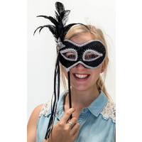 Black & Silver Stick Mask w/Feather