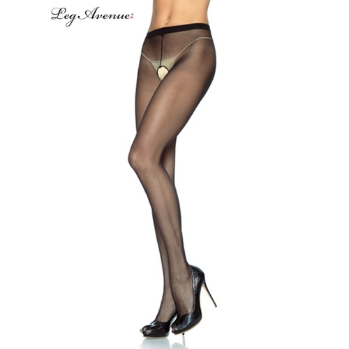 Sheer Nylon Crotchless Pantyhose Plus Size Black