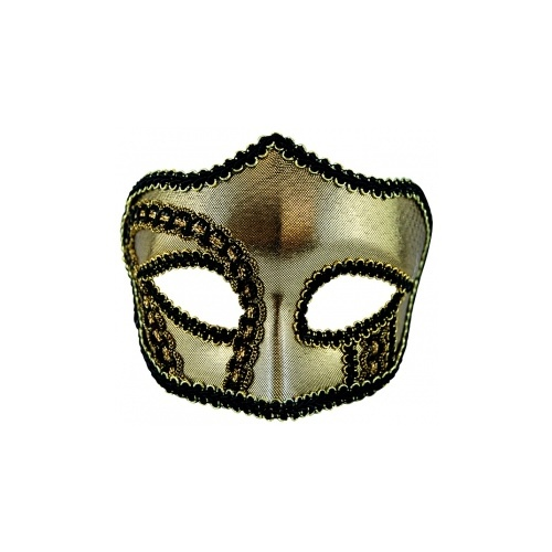 Mens Masquerade Mask Gold Black Glasses Style